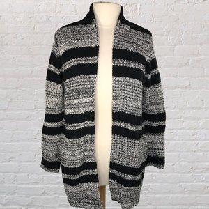 Ann Taylor LOFT Cardigan Black White Stripe Knit S